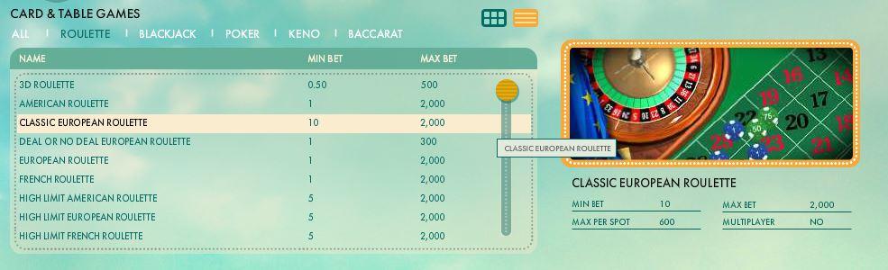 777 Casino Roulette Games