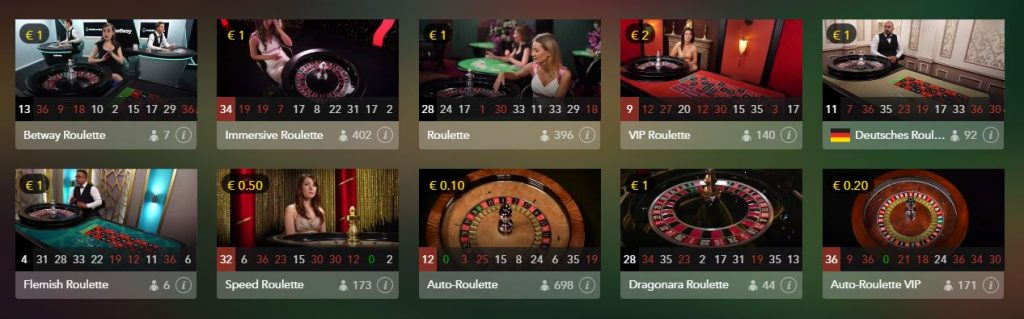 Betway Live Casino Roulette
