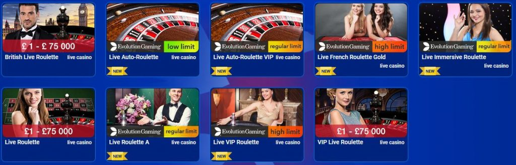 All British Casino Live Roulette Games