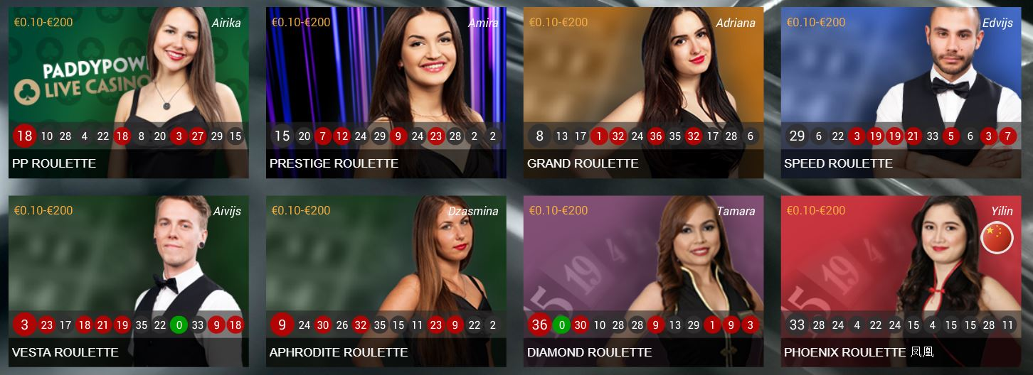 Paddy Power Live Roulette games